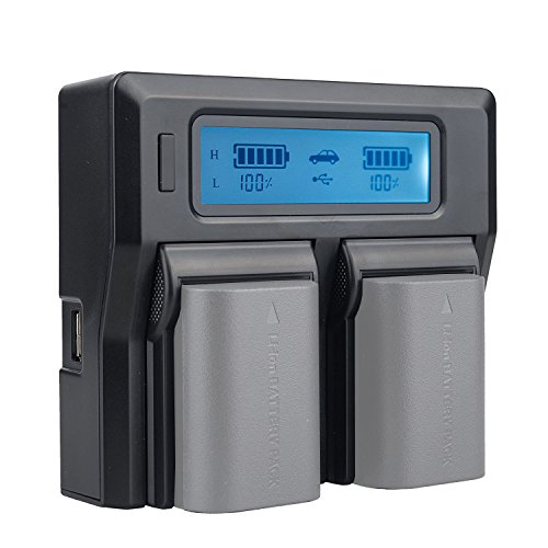 Fotga LCD Dual Battery Charger for Canon LP-E6 LP-E6N 7D 6D