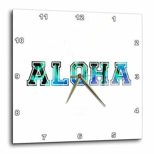 3dRose dpp_151329_1 Aloha Blue Turquoise Teal Sky with Black Silhouette of Hawaiian Palm Trees Tropical Hawaii Saying Wall Clock, 10 by 10-Inch For Sale