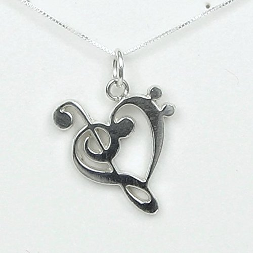 The Heart of Music Necklace Silver with story card – Bass and Treble Clef Heart – Handmade in USA- Sterling Silver 18 Chain