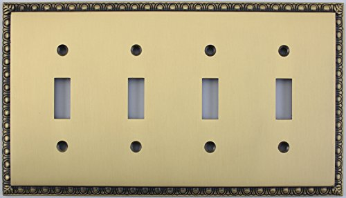 Egg & Dart Antique Brass 4 Gang Toggle Light Switch Plate