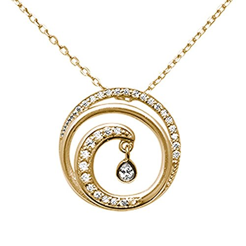 Cubic Zirconia Wave Pendant (Sterling Silver Swirl Ocean Wave Cubic Zirconia Pendant Necklace - Yellow Gold Plated)