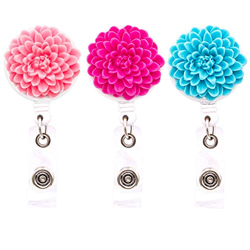Multi Daisy Flower - Ascrafter Multi-layer Flower Retractable Badge Holder, Daisy Badge Reel Clip On Card Holders, 3 Pack(Pink+Rose red+Blue)