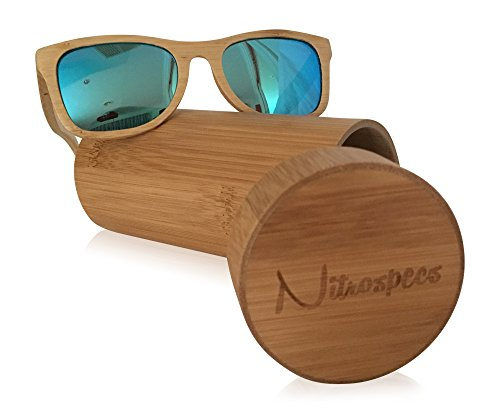 Nitrospecs Bamboo Sunglasses Unisex Style UV Protection Great for Outdoors and Water Activities (Natural Bamboo, - Guy Sunglasses
