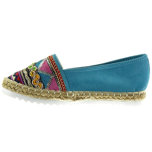 Angkorly - Chaussure Mode Espadrille Mocassin slip-on semelle basket femme brodé pailettes fantaisie Talon plat 2.5 CM - Bleu