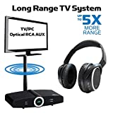Long Range, Wireless Headphones for TV with Bluetooth Transmitter System, PAIRED for Free, Ready to Use, Listen to TV in HD with No Audio Delay, Optical, RCA 3.5mm - Miccus Home RTX 2.0 & Headset