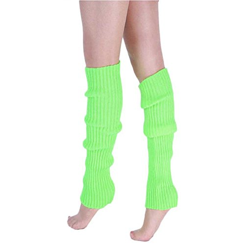 Song Girls Teen 80s Dance Plain Ribbed Women Knit Crochet Long Leg Warmers Fancy Dress Green