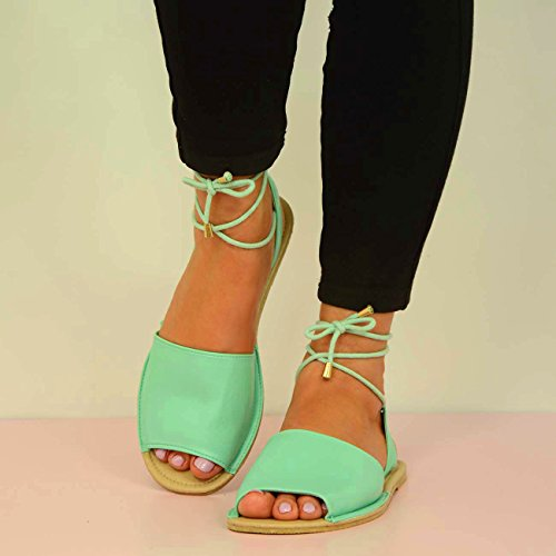 BRAND NEW WOMENS FLAT SANDALS LADIES LACE UP PEEP TOE MENORCAN SUMMER ANKLE TIE SHOES SIZE UK 3 4 5 6 7 8 Green qtn8s