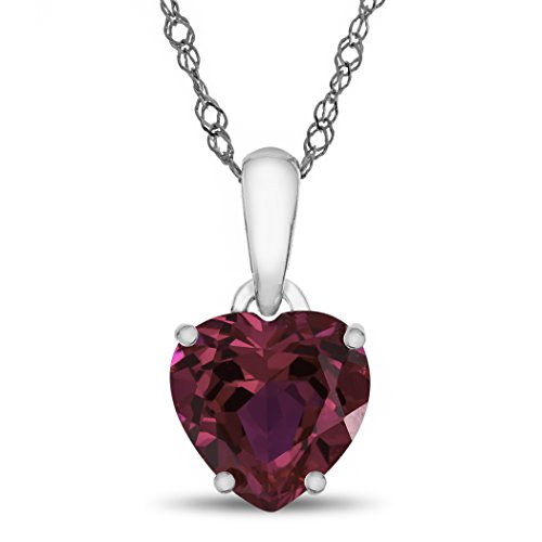 Finejewelers 10k White Gold 7mm Heart Shaped Created Ruby Pendant (Heart Ruby Necklace)