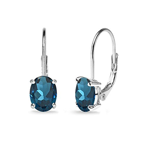 Sterling Silver London Blue Topaz 7x5mm Oval Solitaire Dainty Leverback Earrings (Oval 5mm Setting Ring)