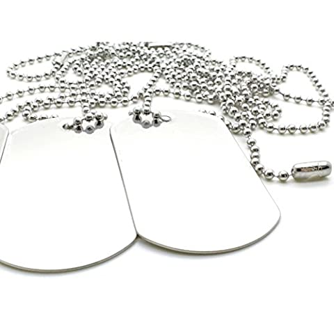 100 COMBO Matte Stainless Steel Military spec Dog Tags - BLANK with Stainless Steel Chains (100 dog tags w/ 30