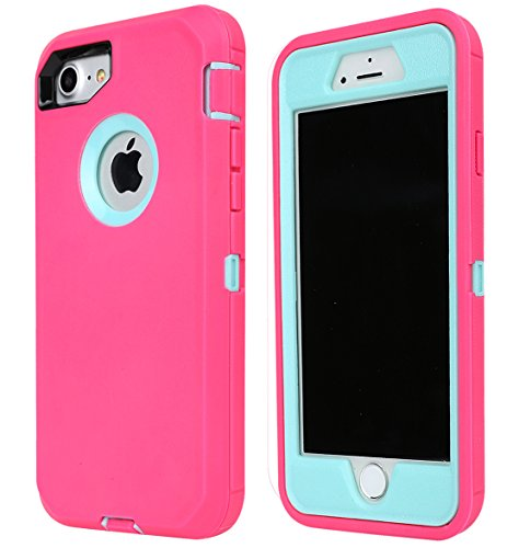 Annymall Case Compatible for iPhone 8 & iPhone 7, Heavy Duty [with Kickstand] [Built-in Screen Protector] Tough 4 in1 Rugged Shorkproof Cover for Apple iPhone 7 / iPhone 8 (Pink)
