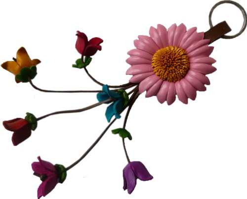 Blumen Anhänger, Schlüsselanhänger Margerite aus echtem Leder; rosa; Länge: 23 cm; Ø Blume 7 cm
