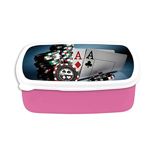 Poker Tournament Decorations Utility Plastic Lunch Containers,Gambling Chips and Pair Cards Aces Casino Wager Games Hazard for Home,7.09