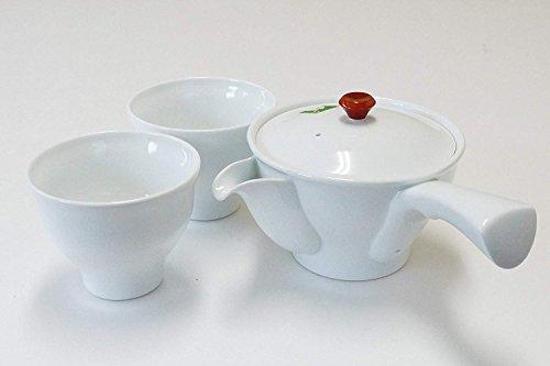 (Imari Japanese Porcelain Tea Ceremony Set Kyusu Teapot & 2 Sencha Cups White)