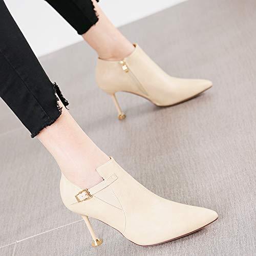 HRCxue Zapatos de la Corte Moda señaló señaló señaló la Hebilla del cinturón Hembra Salvaje Negro Tacones de Aguja Botas Individuales Botas Desnudas, 37, Beige b7caf1