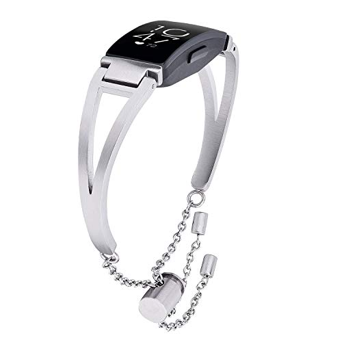 CAGOS Compatible Fitbit Inspire/Inspire HR Bands Women Men, Unique Metal Inspire Bracelet Stainless Steel Classic Cuff Wrist Bands Strap Replacement for Fitbit Inspire Smartwatch (Silver)