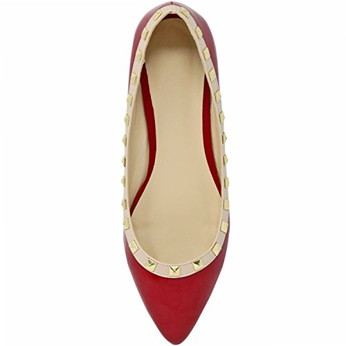 Luxury Divas Patent Leather Flats With Nude Trim & Gold Studs Red L2tQTR