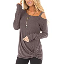 ZILIN Women's Cold Shoulder T-Shirt Long Sleeve Knot Twist Front Tunic Tops