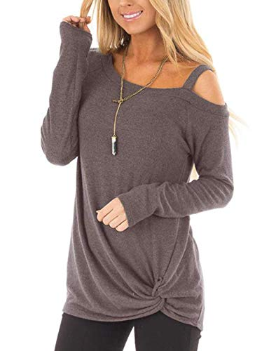 ZILIN Women's Cold Shoulder T-Shirt Short Sleeve Knot Twist Front Tunic Blouse Tops Coffee