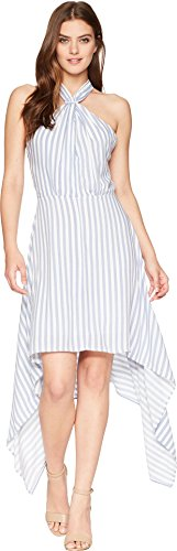 (Bishop & Young Women's Ana Halter Dress Blue/White Stripe Medium)