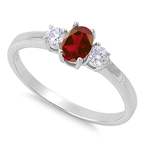925 Sterling Silver Faceted Natural Genuine Red Garnet Oval Ring Size 6