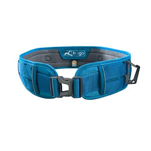 Kurgo Hands Free Dog Running Belt | Leash Waist Belt for Dogs | Crossbody Walking Belt for Dogs | Reflective | Molle Compatible | for Jogging & Hiking | Rsg Utility Belt, Coastal Blue