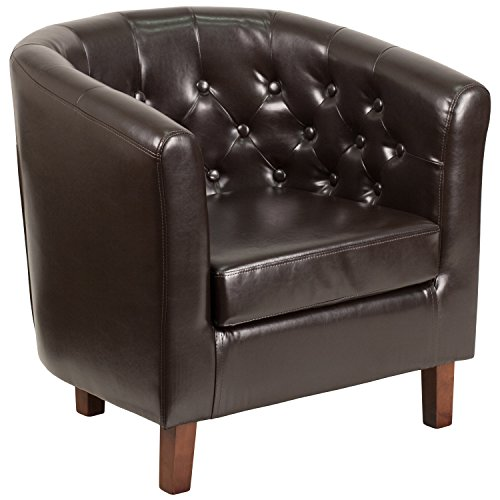 (Flash Furniture HERCULES Cranford Series Brown Leather Tufted Barrel Chair)