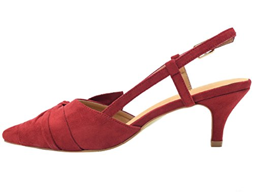 Heels Slingback Fliege Pumps Kleid Bowtie Schuhe Red Pumps Greatonu Kätzchen Damen nPS6FwqI