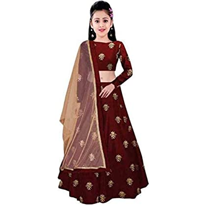 Clothesshop Girl's Banglory Satin Semi-Stitched Lehenga Choli (Maroon, 8-13 Years)