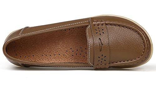 Sketo Damen echtes Leder Casual Penny Loafers Beleg (bis zu 55% Rabatt) Khaki