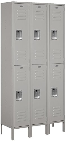Salsbury Industries 62362GY-U Double Tier 36-Inch Wide 6-Feet High 12-Inch Deep Unassembled Standard Metal Locker, Gray by Salsbury Industries