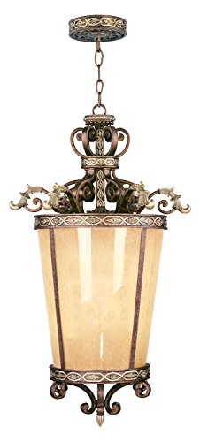 Palacial Bronze with Gilded Accents 6 Light 600W Foyer Pendant with Medium Bulb Base and Hand Crafted Gold Dusted Art Glass from Seville - Series 600 Pendant