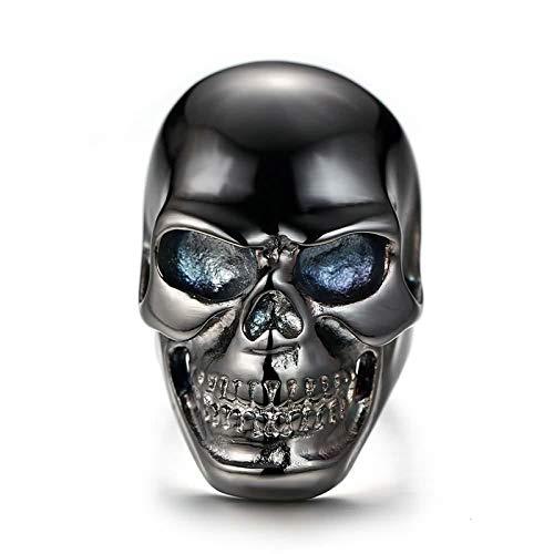 ANAZOZ Stainless Steel Rings for Men Thumb Rings Black Skull 41MM Size 10 ()