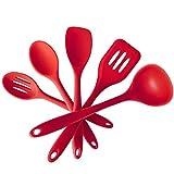 WAOAW 5 Piece Safe Silicone Kitchen Utensil Set - Heat Resistant Cooking Utensil