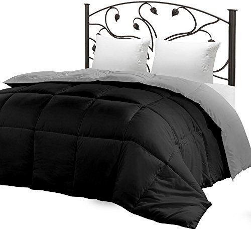 Down Alternative Reversible Comforter (Black/Grey, Twin) - All Season Duvet Insert - Microfiber Box Stitched, 3D Hollow Siliconized Comforter by Utopia Bedding (Black And Grey Comforter)