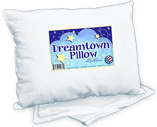 Dreamtown Kids Toddler Pillow With Pillowcase, White, 14x19 (Sleeping Toddler Cots)