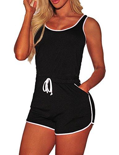 YouSexy Women's Summer Casual 2 Piece Tank Tops Shorts Set Black