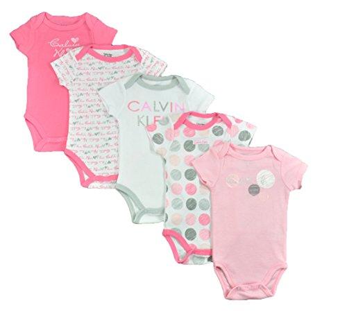 Calvin Klein Baby-Girls Newborn 5 Pack Bodysuit, Pink/White, 6-9 Months
