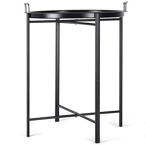 ees.Round Black Metal Tray End Side Sofa Table Living Room Bedroom Patio Furniture