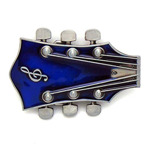 MarryAcc Vintage Music Guitar Head Belt Buckle Gift for Musician (Blue)