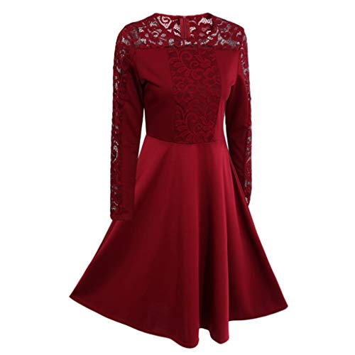 Long Sleeve Dress, Women's Floral Formal Lace Vintage Short Sleeve Slim Wedding Maxi Dress (Red, L) -