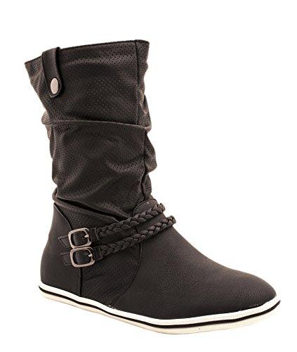 Elara - Botas Chelsea Mujer negro-blanco