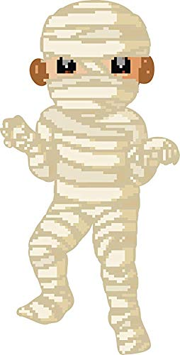 EW Designs Cute Pixelated Videogame Halloween Costume Cartoon - Mummy Vinyl Decal Bumper Sticker (4