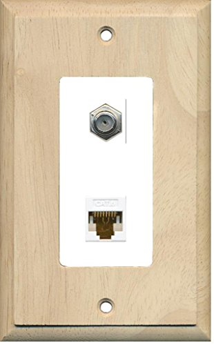 - RiteAV - 1 Coax Cable TV F and 1 Cat6 Ethernet Wall Plate Decorative - Wood & White - Bracket Included