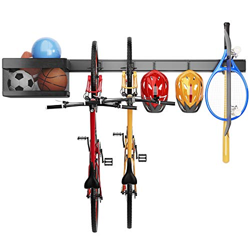 TORACK Garage Sports Equipment Organizer, Adjustable Wall Mount Organizer with Baskets and Hooks, Ball Storage, Bike Storage Rack, Sports Gear Storage, Powder Coated Steel