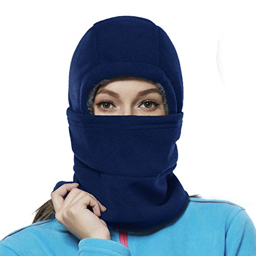 - Balaclava Fleece Hood for Women Kids Thick Ski Face Mask Cold Weather Winter Warmer Windproof Adjustable Neck Protective Cycling Running Blue