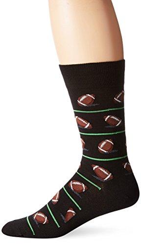 Hot Sox Men's Novelty Sporting Crew Socks, Football (Black), Shoe Size: 6-12
