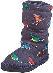 Joules boys sock Slipper, Navy Dinos, Large Big Kid US