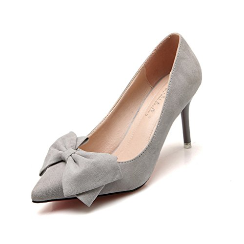 On Daim Slip Inconnu Chaussure Léger Papillon Chaussures Pointu Élégant Talon Stiletto Fashion Féminins Soiree Mode Gris Haut Escarpin Respirent OL Noeud Velours Femme OSqwO74x