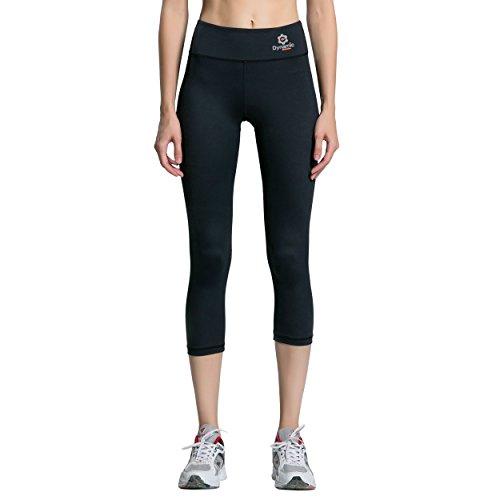 Dynamic Athletica Black Compression Capri Leggings For Women/Slimming Yoga Pants/Tights & Workout Clothes (Medium, Black) For Sale